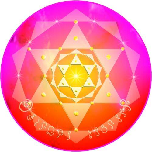 Dieses Mandala verbindet das, was zusammengehört. Jede Trennung vergeht. Durch diese allumfassende Einswerdung vollzieht sich energetische Heilung. Der Mensch wird mit der göttlichen Ebene, in der alle (männlichen und weiblichen) Pole zu einer allumfassenden Einheit verschmolzen sind, verbunden.