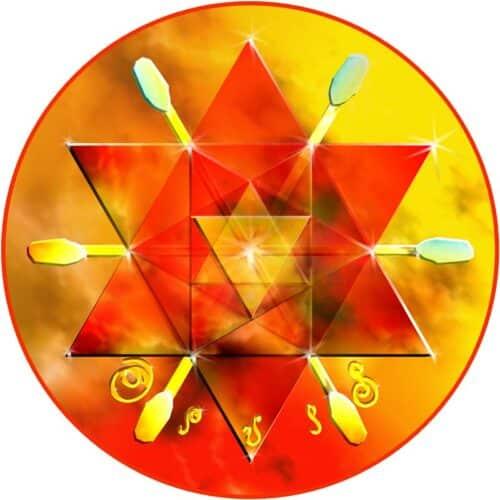 Dieses Mandala transformiert durch seine feurige Kraft jede Art von ungünstigen Energieformen. in einem Raum aufgelegt befreit es diesen und gibt ihm anhaltenden Schutz. Am Körper aufgelegt bringt die Energie von Enuil Erleichterung und Klärung.