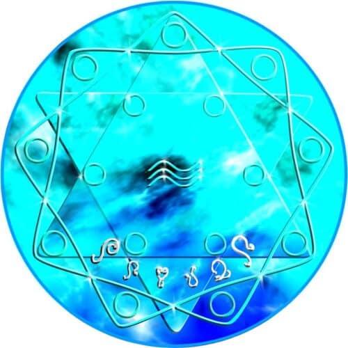 Nabudah energetisiert und belebt das Wasser, wenn ein Wasserglas für zumindest 5 Minuten auf dieses Mandala gestellt wird.