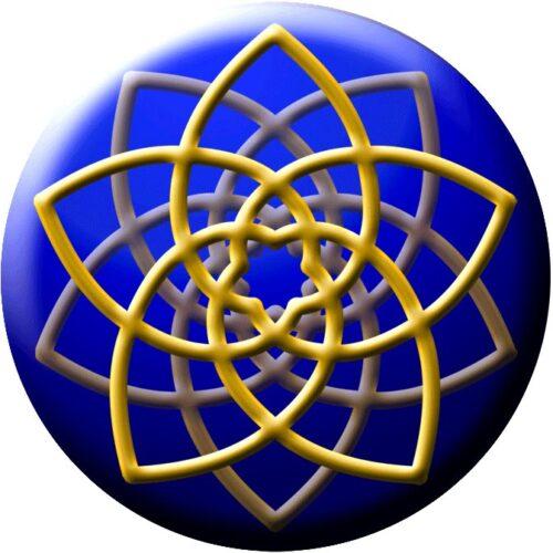 """Dieser aufwändig produzierte Aufkleber stellt die """"Venusblume"""" dar. Diese schöne geometrische Form ist exakt nach dem goldenen Schnitt (der """"Heiligen Geometrie"""") konstruiert und spricht dadurch den Schönheitssinn im Menschen an."""