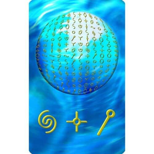 Die Matrix ist der Gedanke und der Logos, durch den das Bewusstsein die Wirklichkeiten erschafft. Die geheilte und heile Matrix befindet sich im Einklang mit allem Leben und im Einklang mit dem allgegenwärtigen Geist. Die geheilte Matrix erschafft Wirklichkeiten im Sinne der Evolutionskräfte des Lebens. Auf dieser Karte siehst du Symbole, welche die Struktur der Heilen Matrix zum Thema innere Ruhe darstellen. Diese Darstellung ergibt sich kreativ aus dem Wissen über den Goldenen Schnitt, die Heilige Geometrie und aus dem Wissen über die damit verbundenen Vorgänge in unserer DNA.