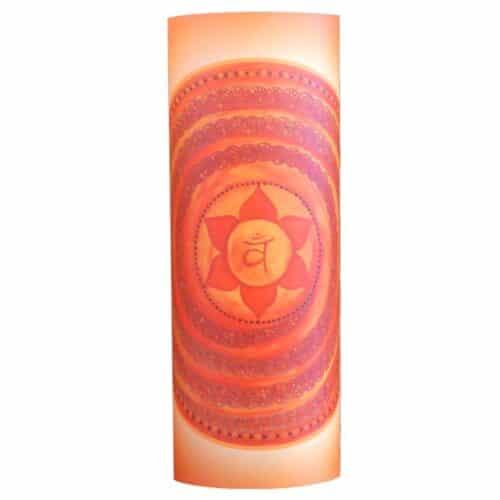 Dieses Mandala strahlt die Schwingung des Sakralchakras (Svadisthana Chakra) aus. Unser 2. Chakra repräsentiert in harmonisch schwingender Form Lebenslust.-Freude, eine ausgeglichene Sexualität, schöpferische Kreativiät und den schöpferischen Fluss des Lebens.