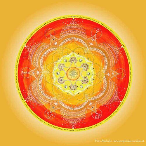 """Das Mandala """"Schöpferkraft"""" wirkt auf unsere ersten zwei Chakras (Wurzel oder Muladhara Chakra und Sakral oder Svadisthana Chakra)."""